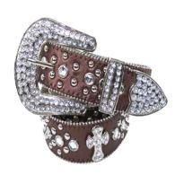 WHOLESALE WESTERN CROSS AND STONE STUDDED BELT