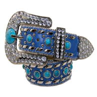 WHOLESALE WESTERN RHINESTONE AND TURQUOISE STUDDED BELT